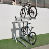 China Commercial Combination Floor Stand 4 Holders Double Layers Outdoor Bike Racks factory