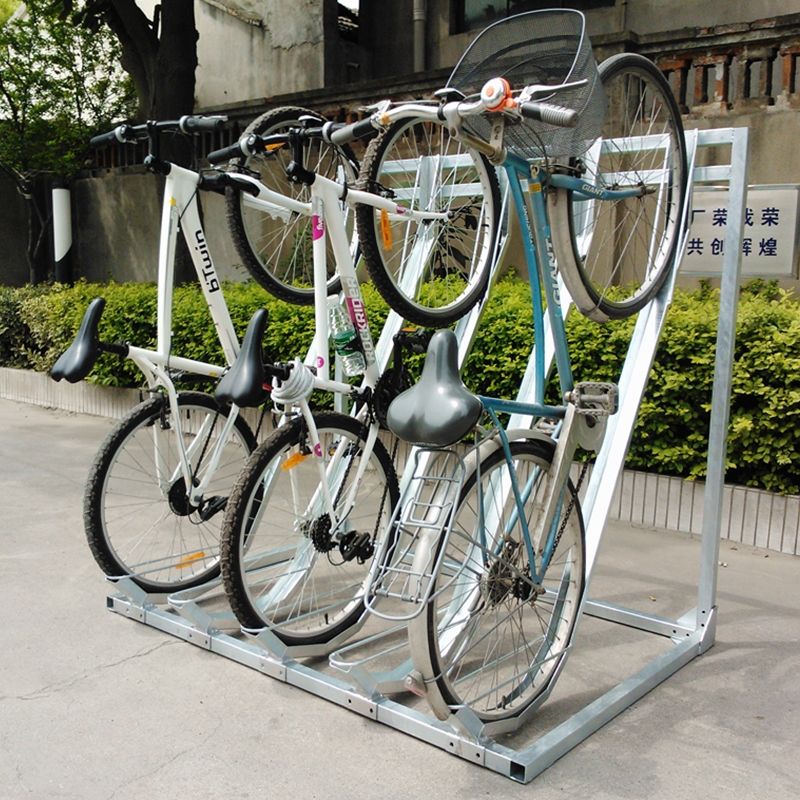 High Quality Semi Vertical Bike Storage Rack Outdoor Parking